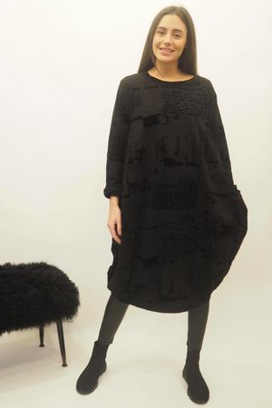 The Script Cocoon Tunic Dress Black