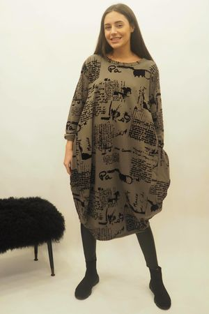 The Script Cocoon Tunic Dress Khaki