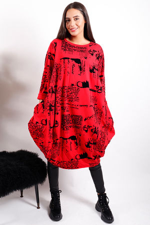 The Script Tunic Red