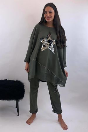 The Sequin Star Co-Ord Khaki