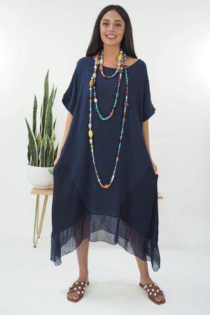 The Silk Panel Dip Side Dress Navy