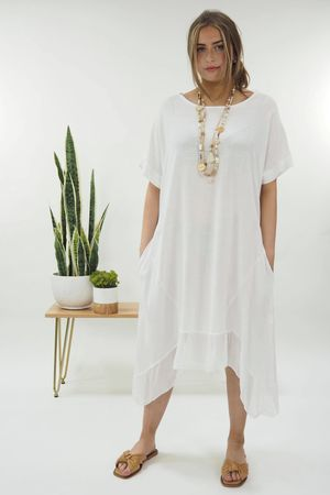 The Silk Panel Dip Side Dress**