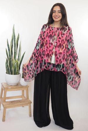 The Silk Road Animal Drape Top Hot Pink