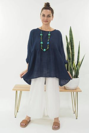 The Simple Smock Top Navy