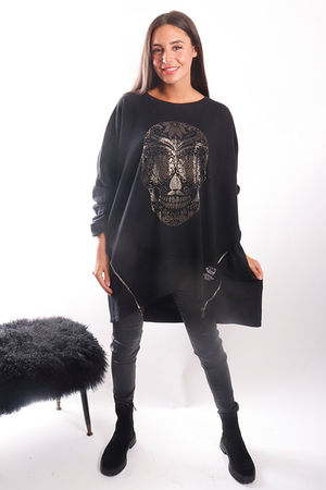 The Skull Longline Zippi Sweat Black