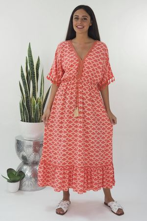 The Souk Print Maxi Dress Strawberry