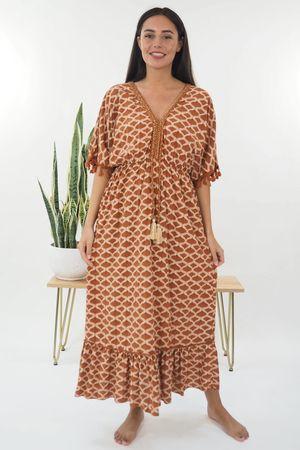 The Souk Print Maxi Dress Deep Terracotta
