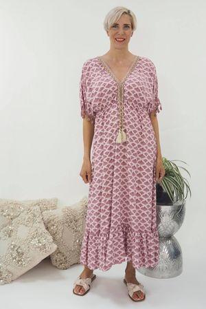 The Souk Print Maxi Dress Indian Pink