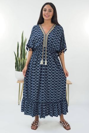 The Souk Print Maxi Dress Navy