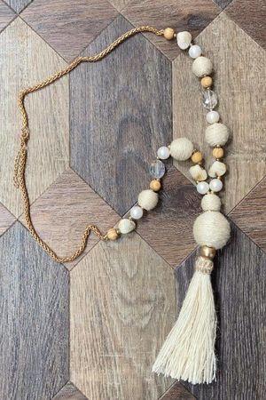 The Souk Tassel Necklace Ecru