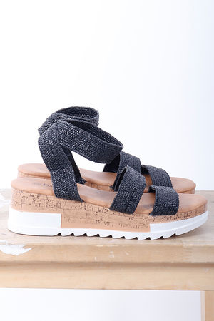 The Stevie Stretch Raffia Wedge Black