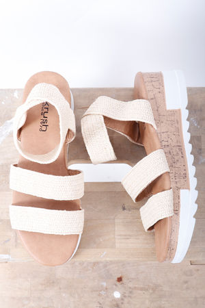 The Stevie Stretch Raffia Wedge Nude