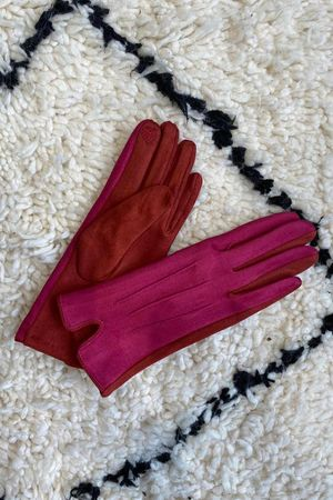The Suedette Double Gloves Hot Pink & Pumpkin