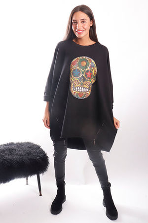 The Sugar Skull Longline Zippi Sweat Black