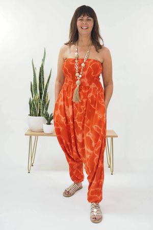 The Sun Seeker Drift Bandeau Jumpsuit Tangerine