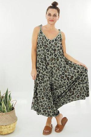 The Tie Shoulder Leopard Print Jumpsuit Khaki