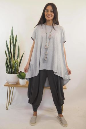 The Trapeze Short Sleeve Top Grey Marl