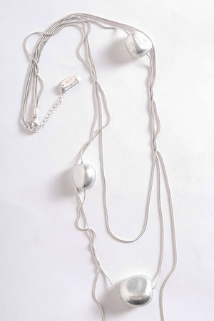 The Tripple Pebble Necklace Silver