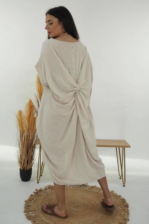 The Twist Back Cocoon Tunic Stone
