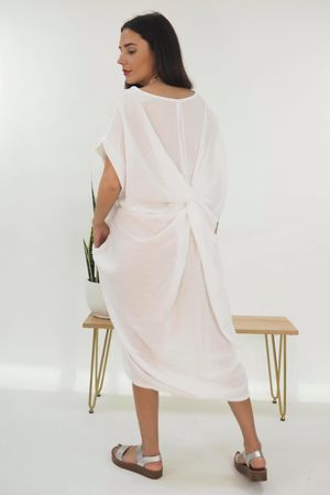 The Twist Back Cocoon Tunic White