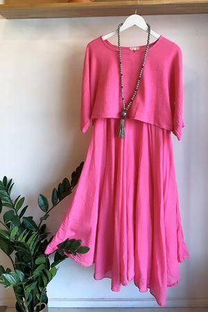 The Two Piece Dress Fuchsia