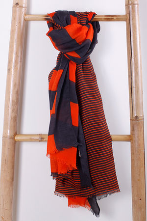 The Two Scale Stripe Scarf Fire & Charcoal