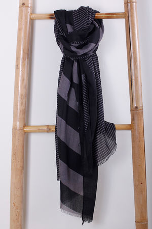 The Two Scale Stripe Scarf Grey & Black