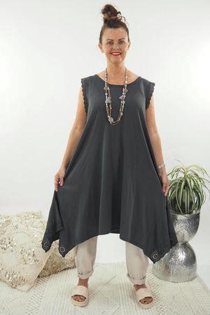 The Victoria Dip Side Dress Graphite