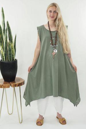 The Victoria Dip Side Dress Khaki