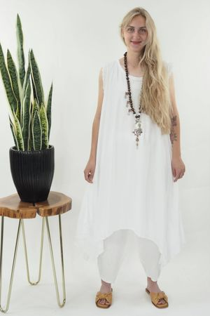 The Victoria Dip Side Dress White