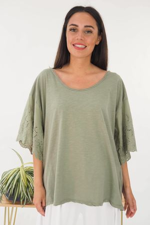 The Victoria Slouch Top Khaki