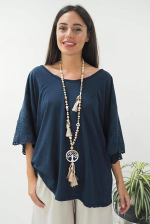 The Victoria Slouch Top Navy