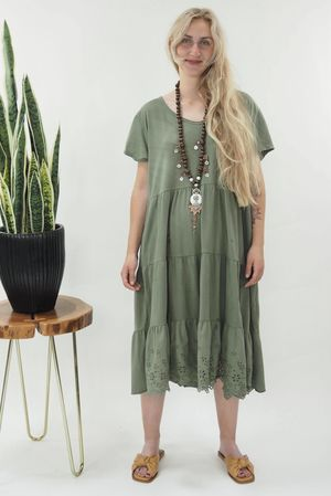 The Victoria Smock Tee Dress Khaki