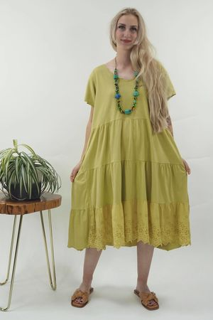 The Victoria Smock Tee Dress Lime