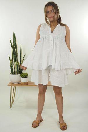 The Victoriana Sleeveless Blouse White