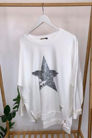 The Vintage Star Zippi Sweat White