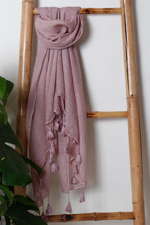 The Vintage Wash Tassel Scarf Blush