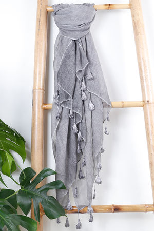 The Vintage Wash Tassel Scarf Slate