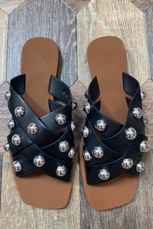 The Wang Stud Sandal Black