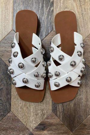 The Wang Stud Sandal White