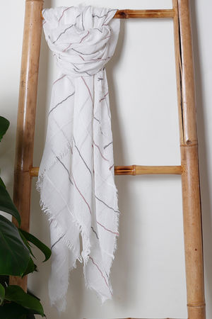 The White and Mustard Stripy Muslin Scarf