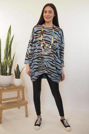 The Zebra Archie La Boulle Oversized Sweatshirt Denim