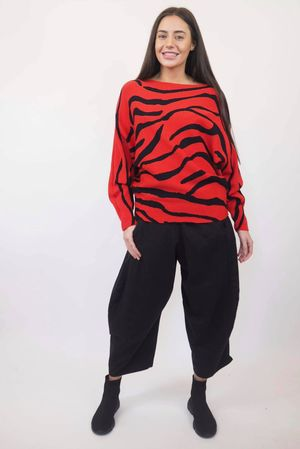 The Zebra 80s Batwing Knit Red