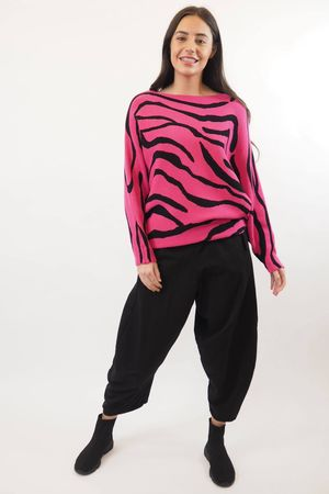 The Zebra 80s Batwing Knit Hot Pink