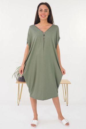 The Zippi Tulip Dress Khaki