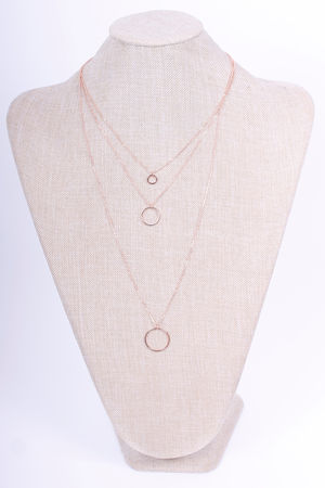 Three Chain Circle Necklace Rose Gold
