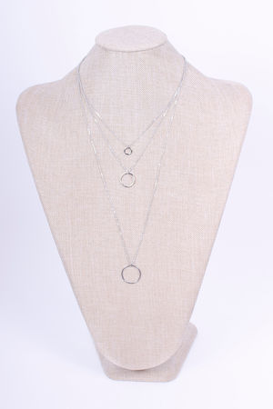 Three Chain Circle Necklace Silver