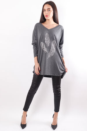 Three Feather Oversized Top Grey