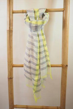 Three Stripe Raw Edge Scarf Denim And Neon Yellow