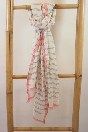 Three Stripe Raw Edge Scarf Grey And Neon Pink